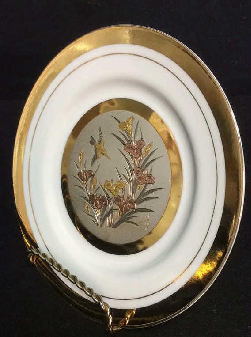 Porcelain And Metal Japanese Chokin Plate - 3