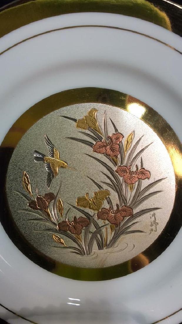 Porcelain And Metal Japanese Chokin Plate - 4