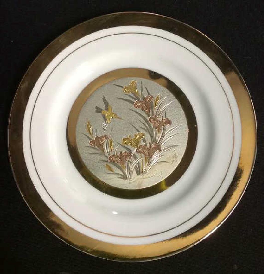 Porcelain And Metal Japanese Chokin Plate - 5
