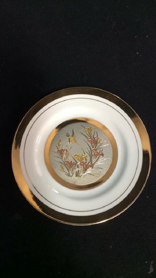 Porcelain And Metal Japanese Chokin Plate - 6
