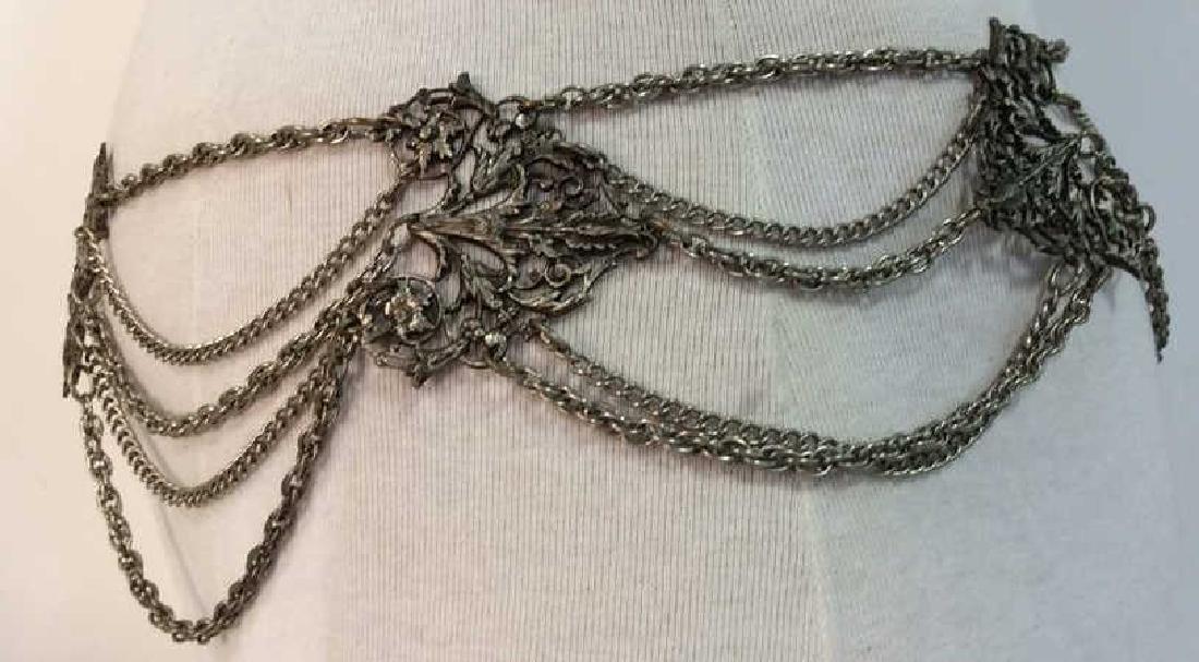 Vintage Silver Toned Metal Belt - 3