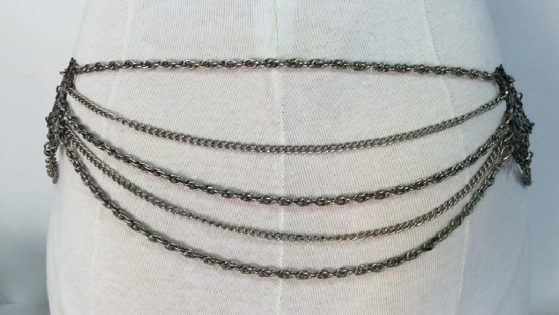 Vintage Silver Toned Metal Belt - 4