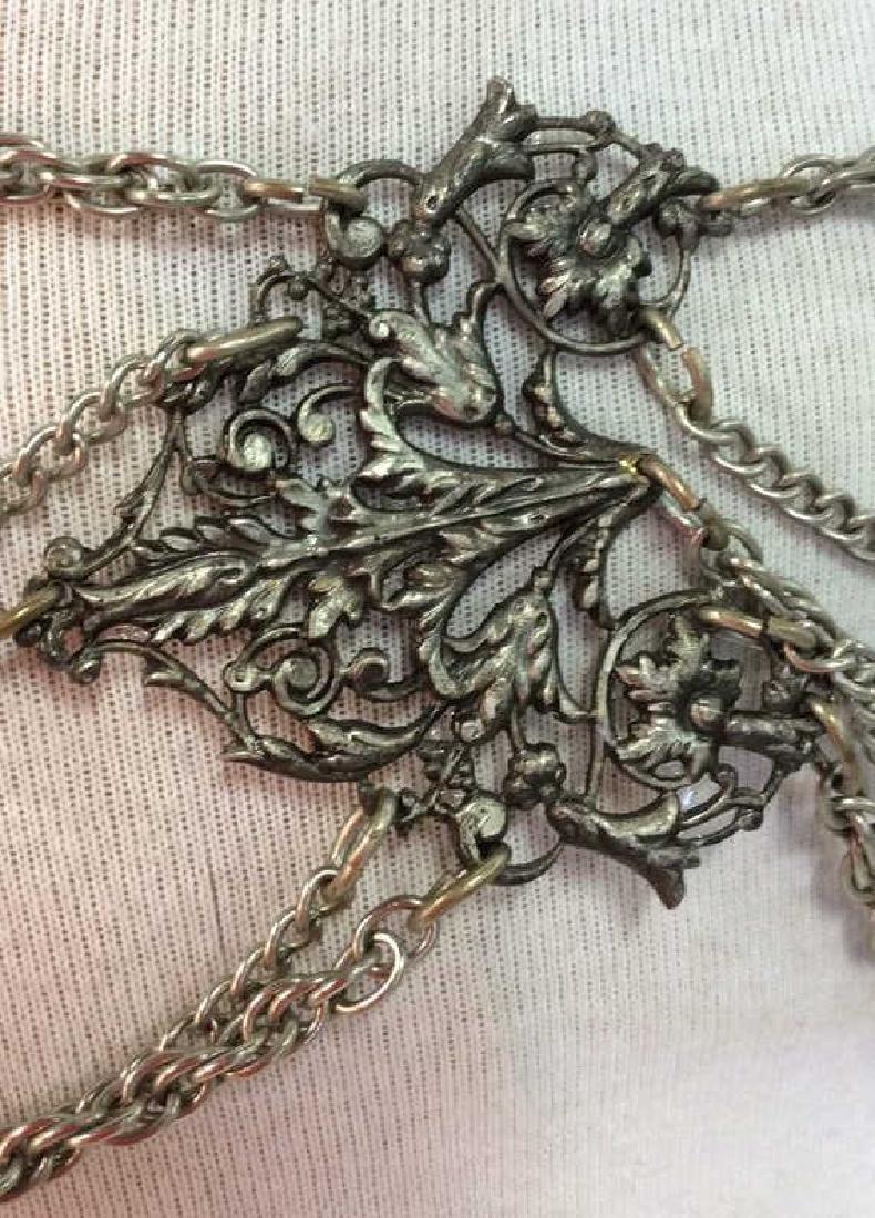 Vintage Silver Toned Metal Belt - 5