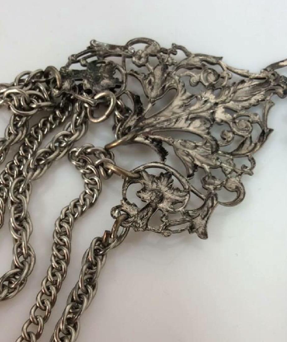 Vintage Silver Toned Metal Belt - 6
