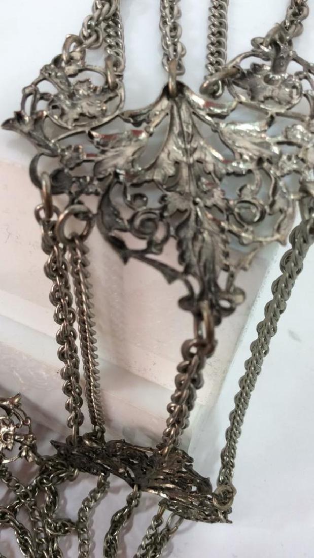 Vintage Silver Toned Metal Belt - 7