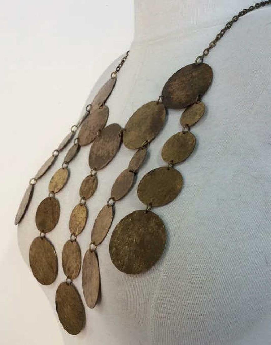 Gold Toned  Statement Metallic Necklace - 3