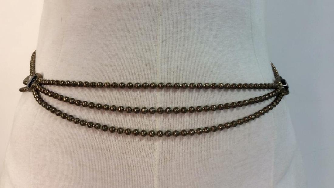 Vintage Metal Belt W Faux Stone - 2
