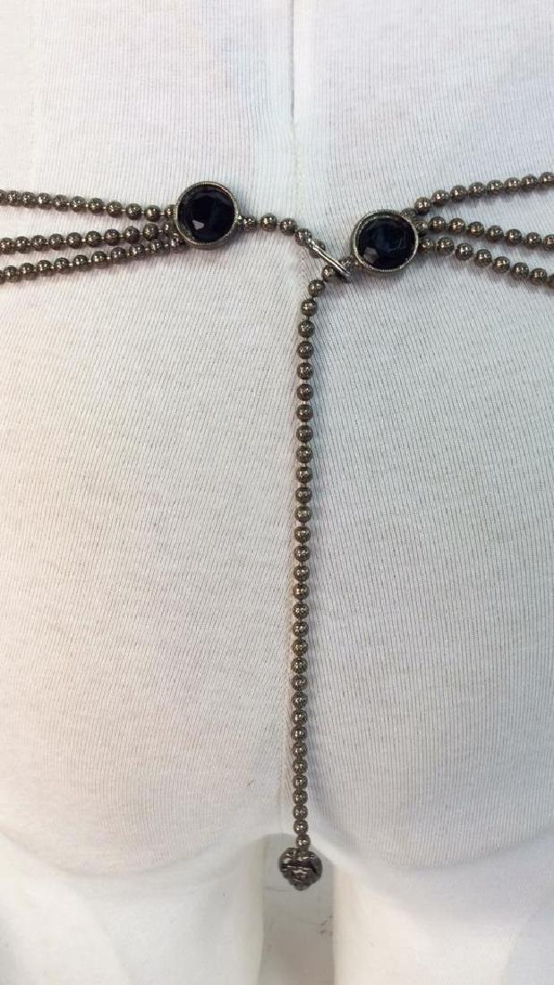 Vintage Metal Belt W Faux Stone - 4