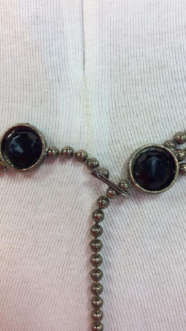 Vintage Metal Belt W Faux Stone - 5