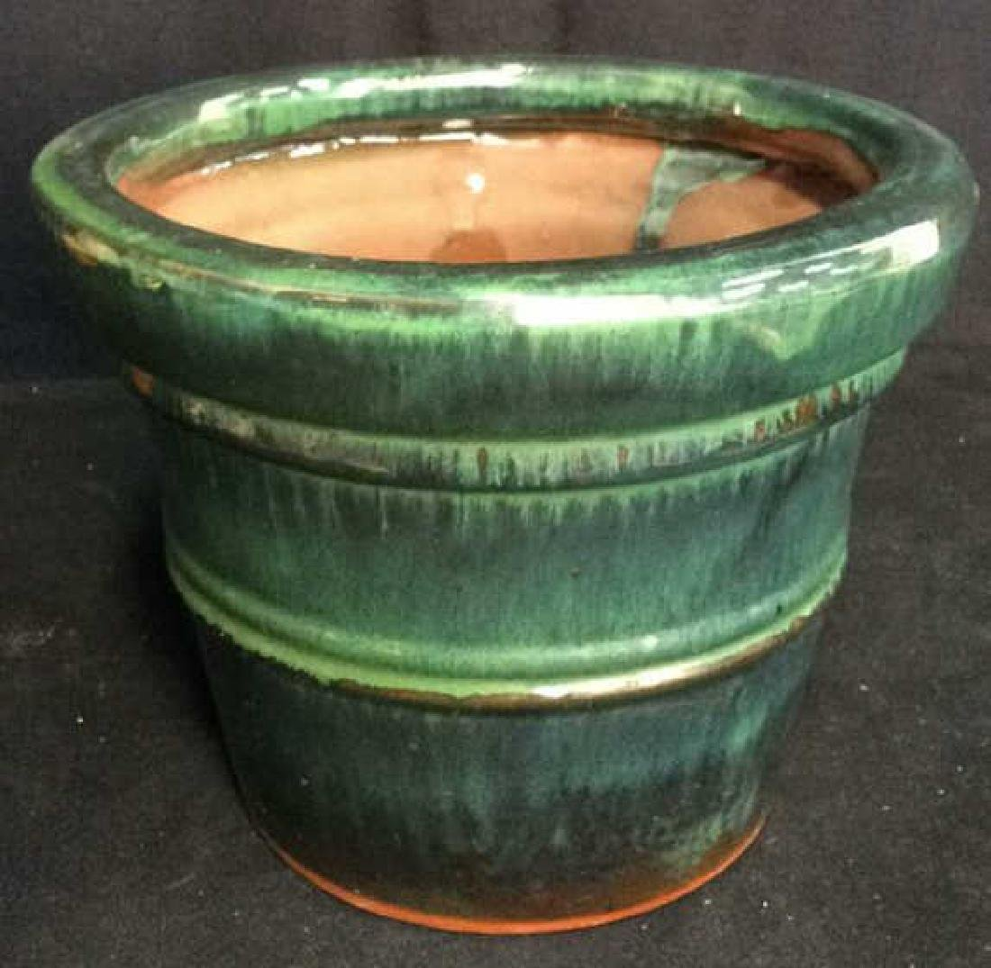 Green And Blue Glazed Ceramic Plant Pot