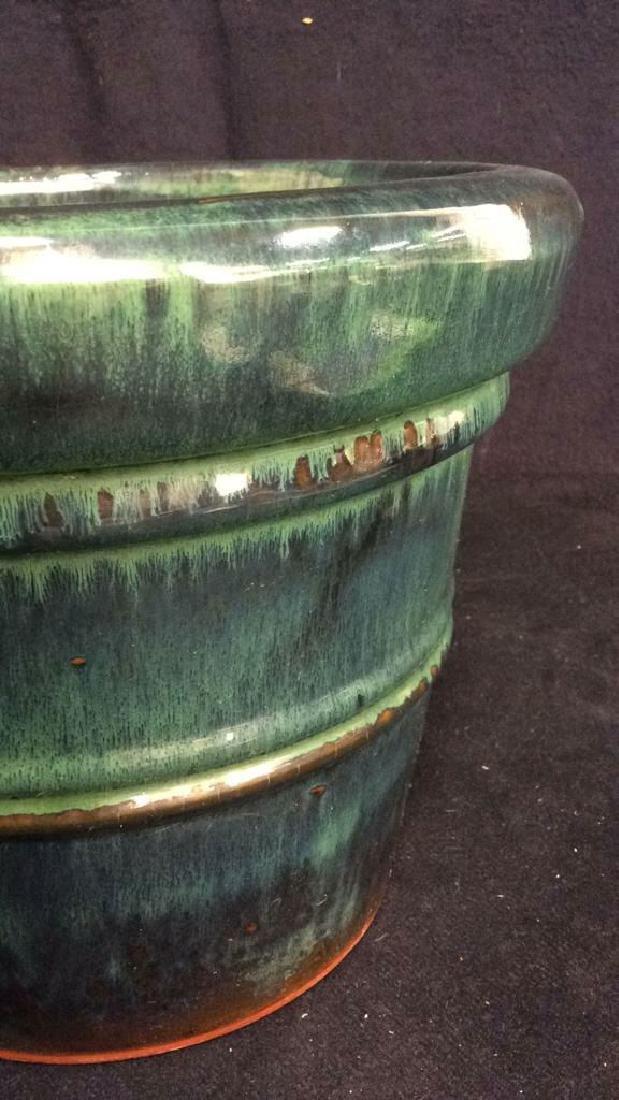 Green And Blue Glazed Ceramic Plant Pot - 2