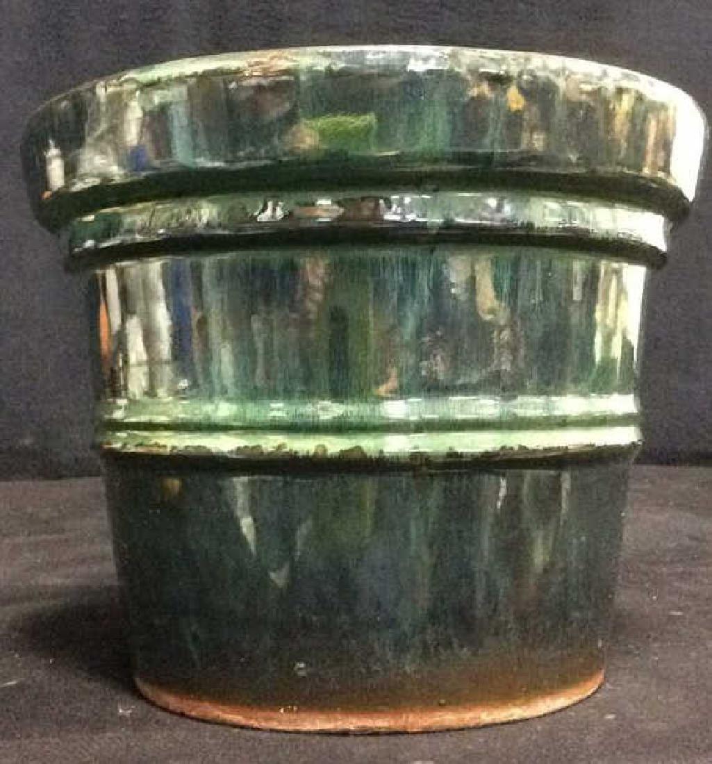 Green And Blue Glazed Ceramic Plant Pot - 4