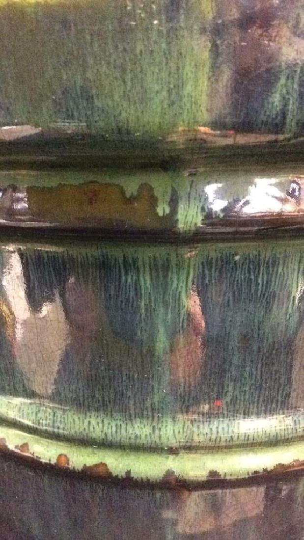 Green And Blue Glazed Ceramic Plant Pot - 5