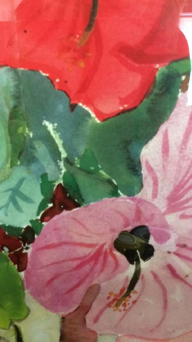 Signed Floral Watercolor Artwork - 4