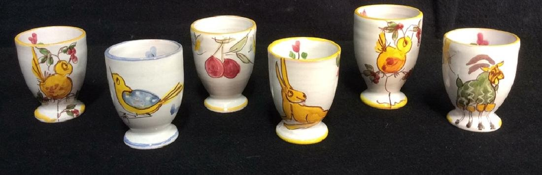 Lot 6 Hand Painted Ceramic Egg Cups