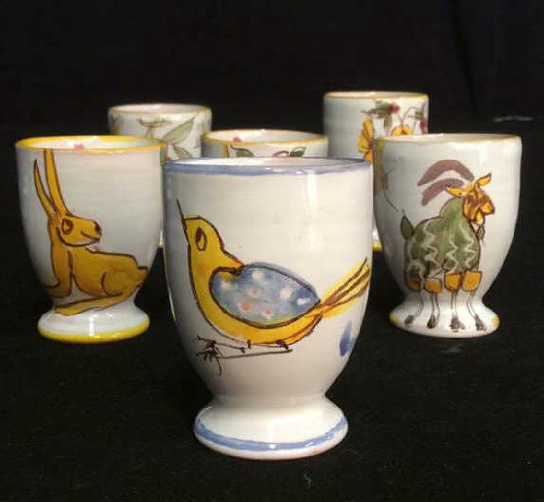 Lot 6 Hand Painted Ceramic Egg Cups - 2