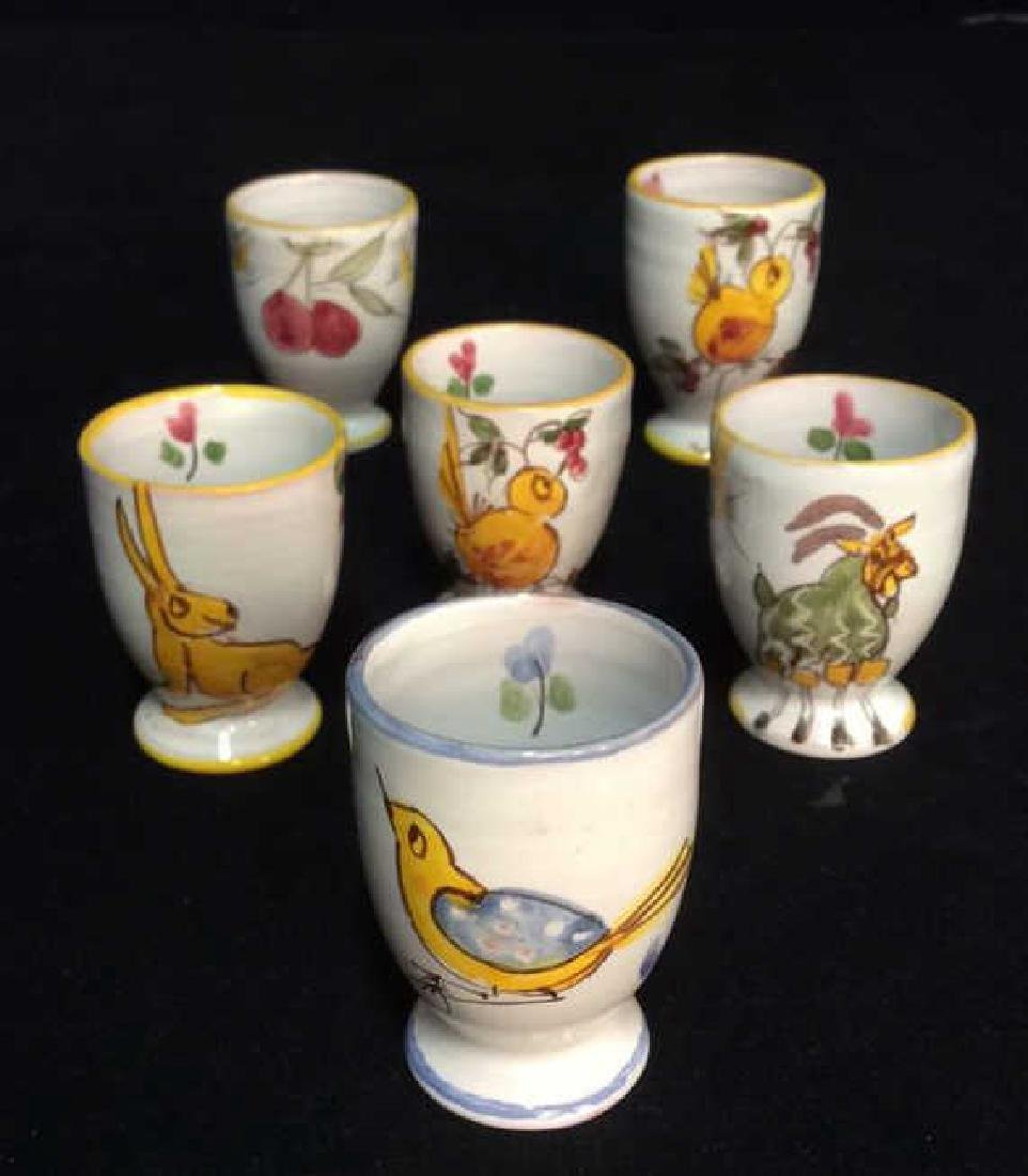 Lot 6 Hand Painted Ceramic Egg Cups - 3