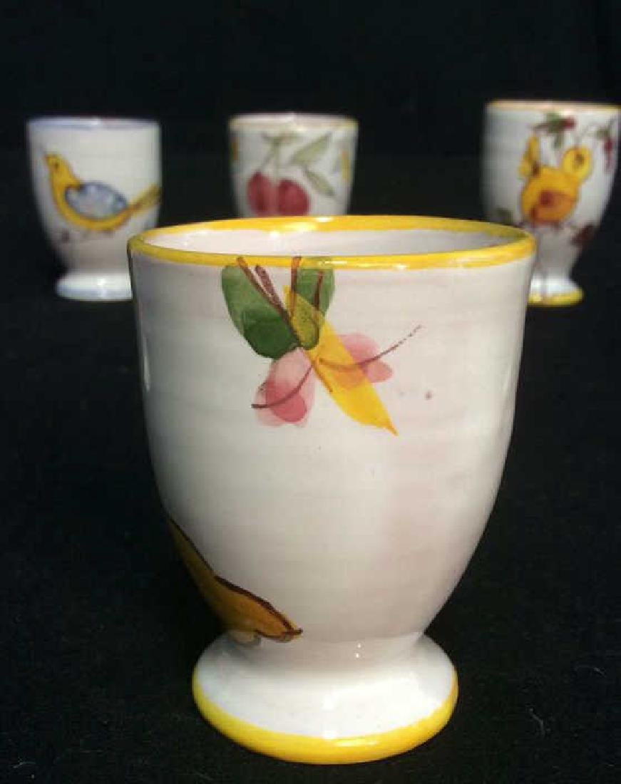 Lot 6 Hand Painted Ceramic Egg Cups - 5