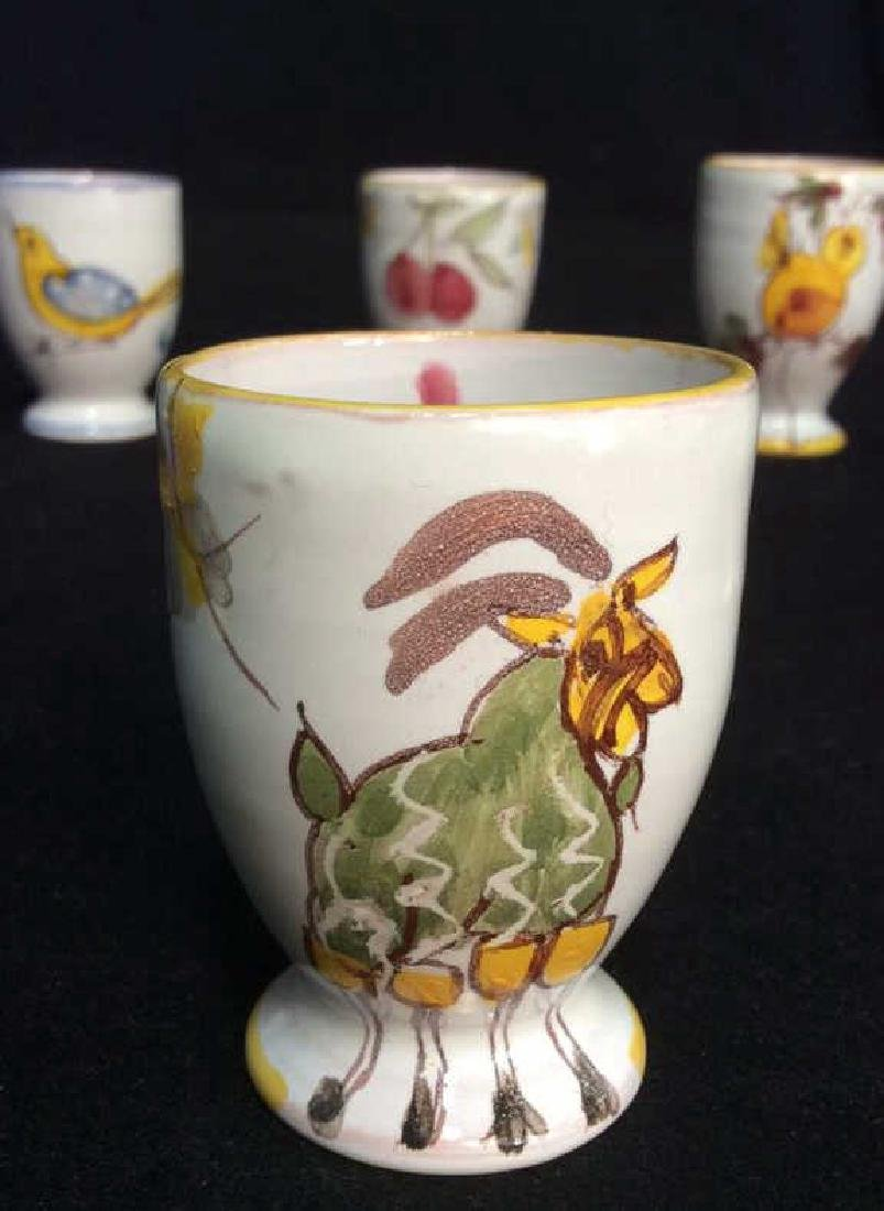 Lot 6 Hand Painted Ceramic Egg Cups - 6