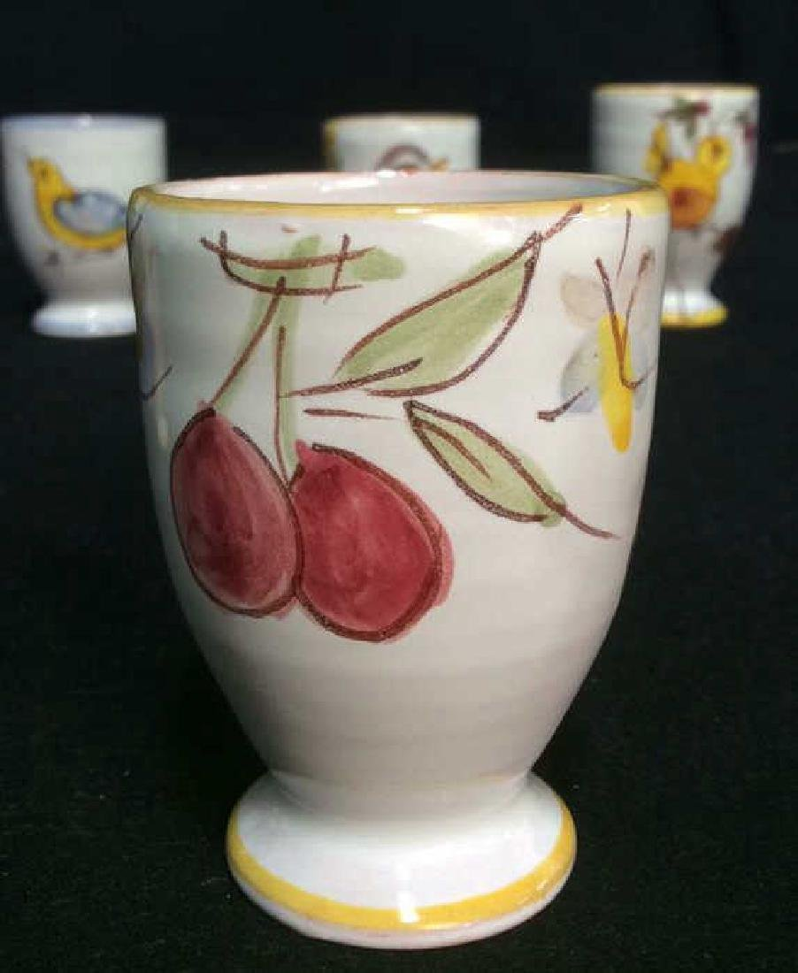 Lot 6 Hand Painted Ceramic Egg Cups - 8