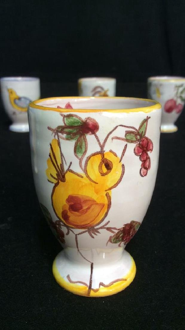 Lot 6 Hand Painted Ceramic Egg Cups - 9