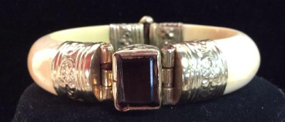 Carved Bone W Semi Precious Stone Bracelet