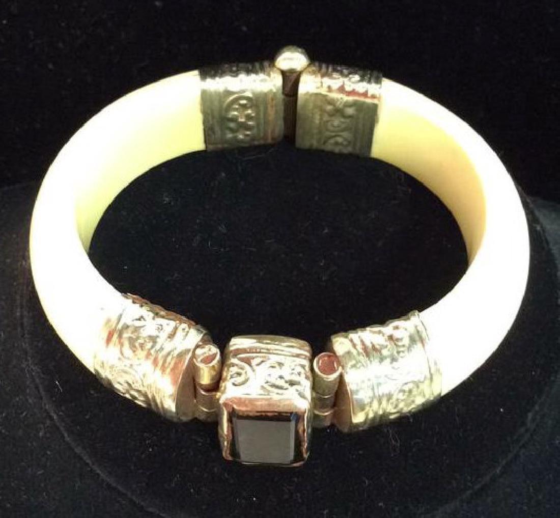 Carved Bone W Semi Precious Stone Bracelet - 2