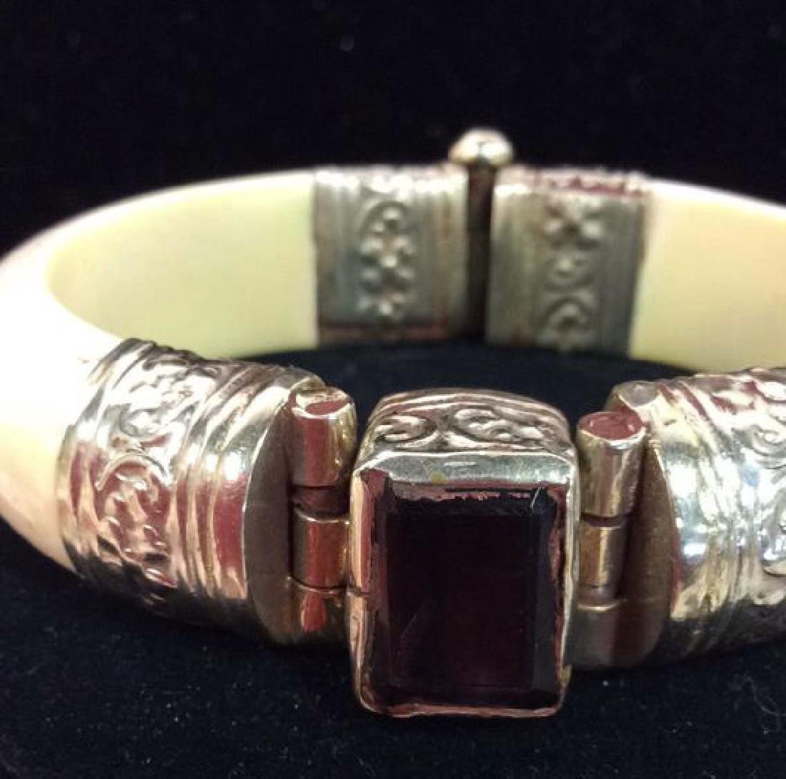 Carved Bone W Semi Precious Stone Bracelet - 3