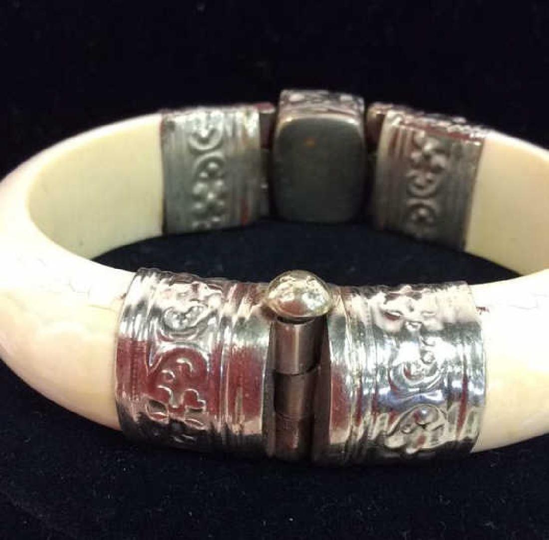 Carved Bone W Semi Precious Stone Bracelet - 4