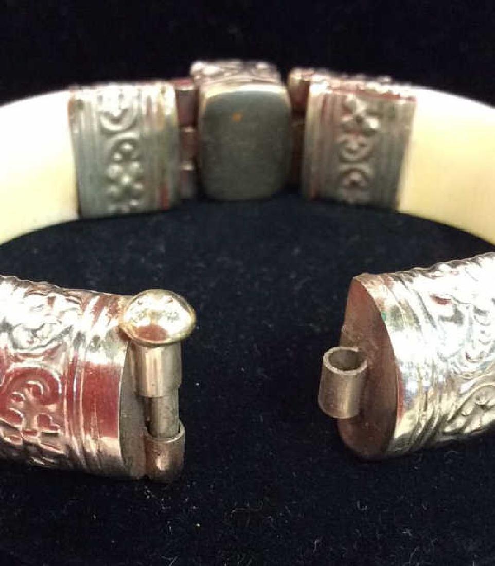Carved Bone W Semi Precious Stone Bracelet - 5