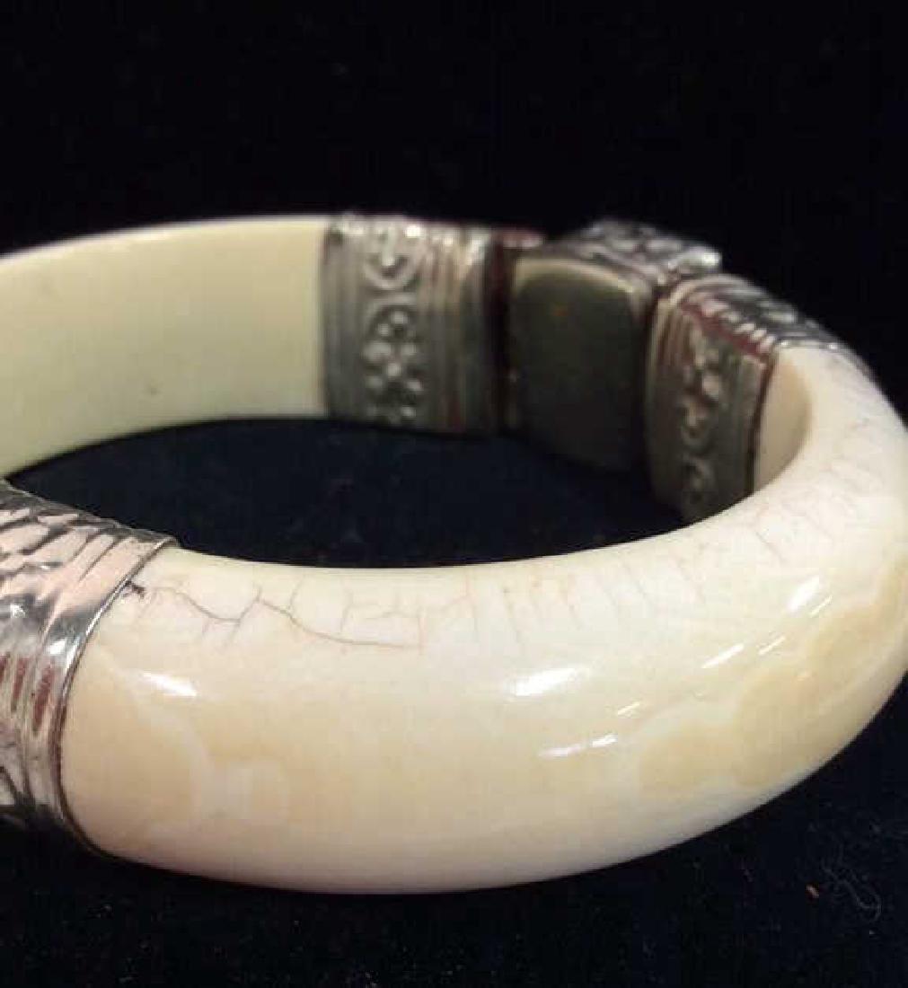 Carved Bone W Semi Precious Stone Bracelet - 6