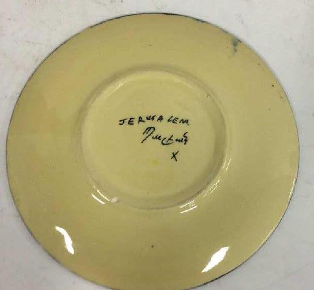 Jerusalem Painted Signed Pottery Plate - 5