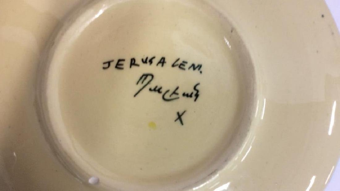 Jerusalem Painted Signed Pottery Plate - 6