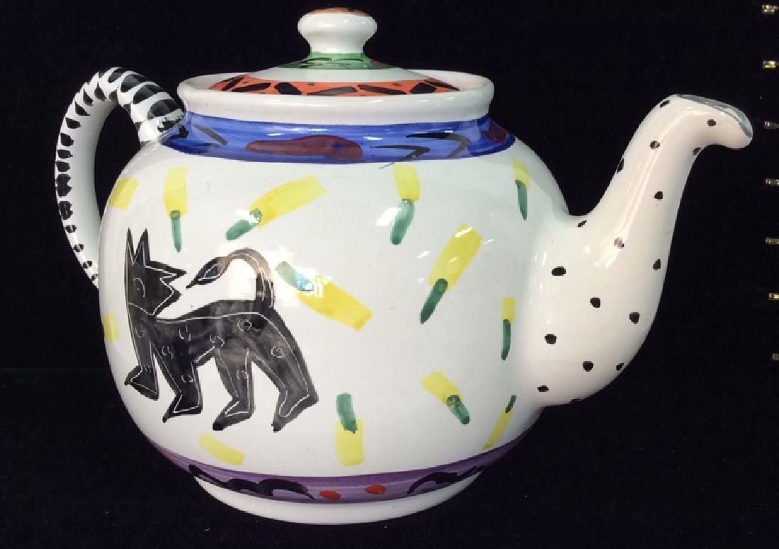 Hand Painted Bird W Geometric Design Tea Pot