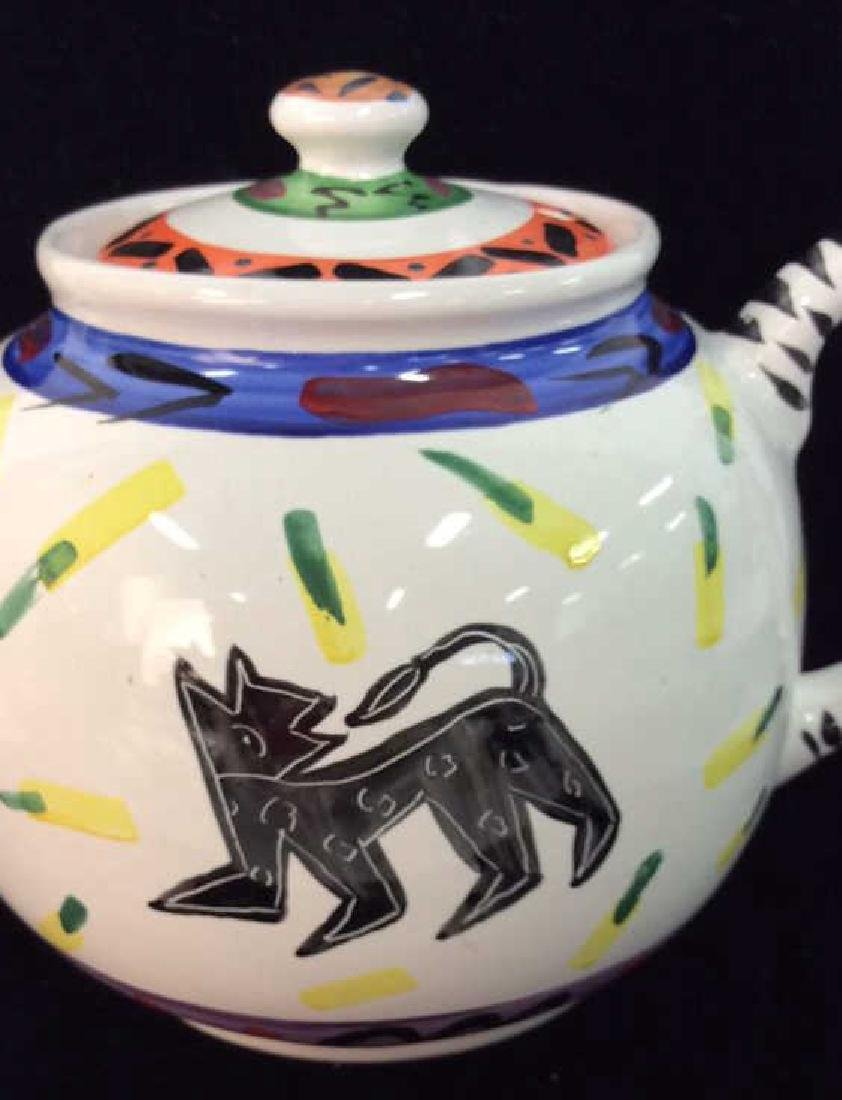 Hand Painted Bird W Geometric Design Tea Pot - 5