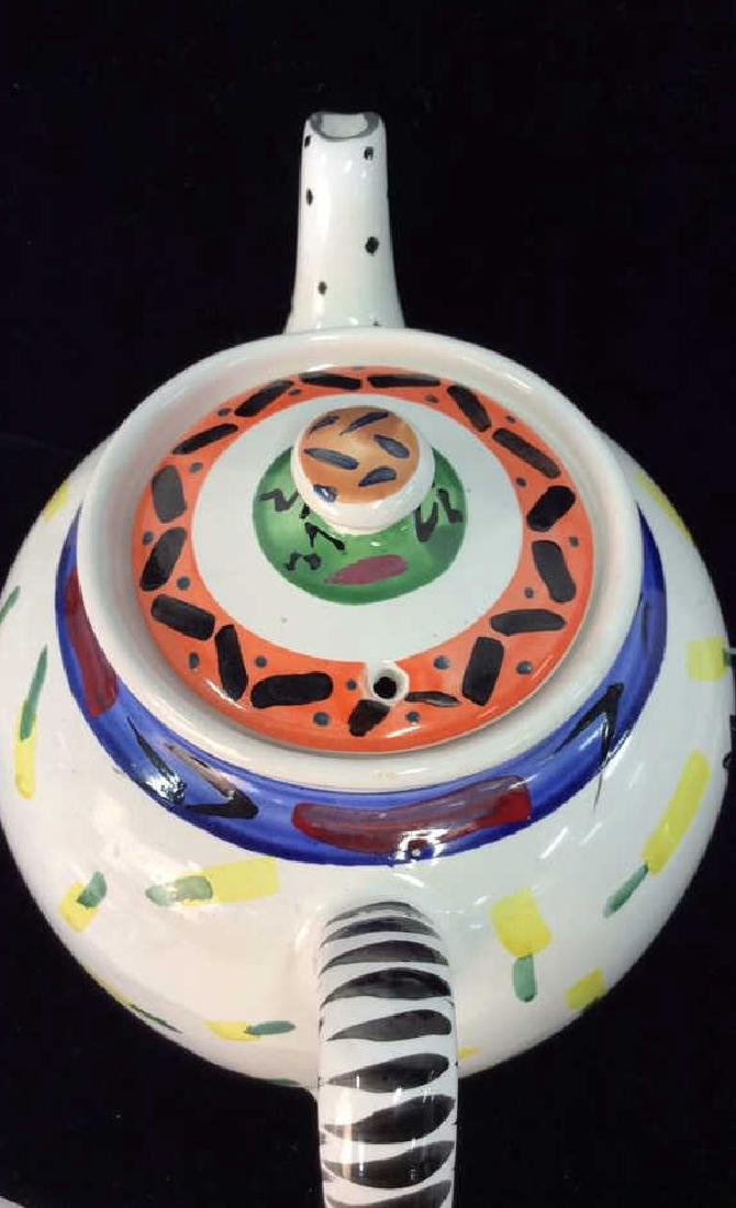 Hand Painted Bird W Geometric Design Tea Pot - 7