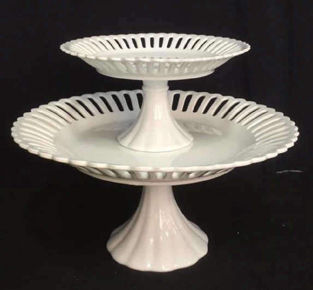 Lot 2 Pierced Edge White Porcelain Cake Stands