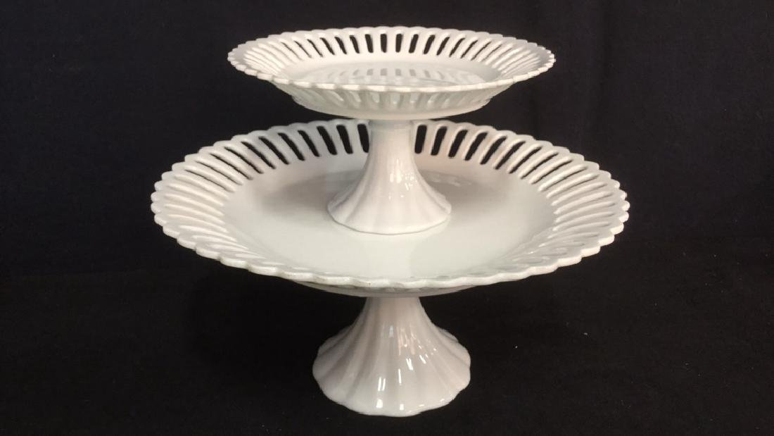 Lot 2 Pierced Edge White Porcelain Cake Stands - 2
