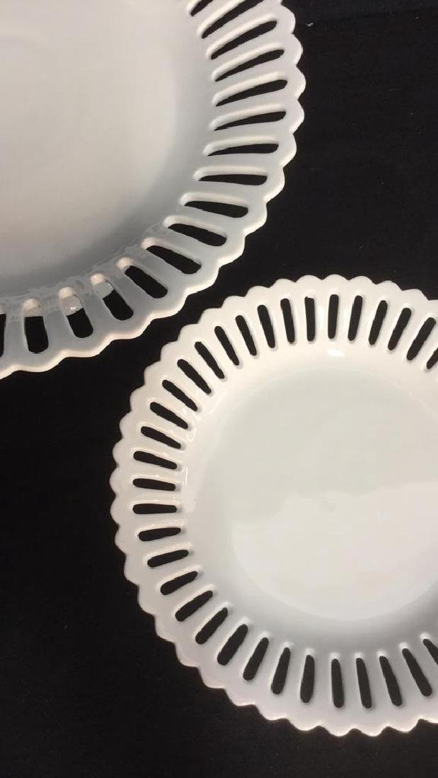 Lot 2 Pierced Edge White Porcelain Cake Stands - 6