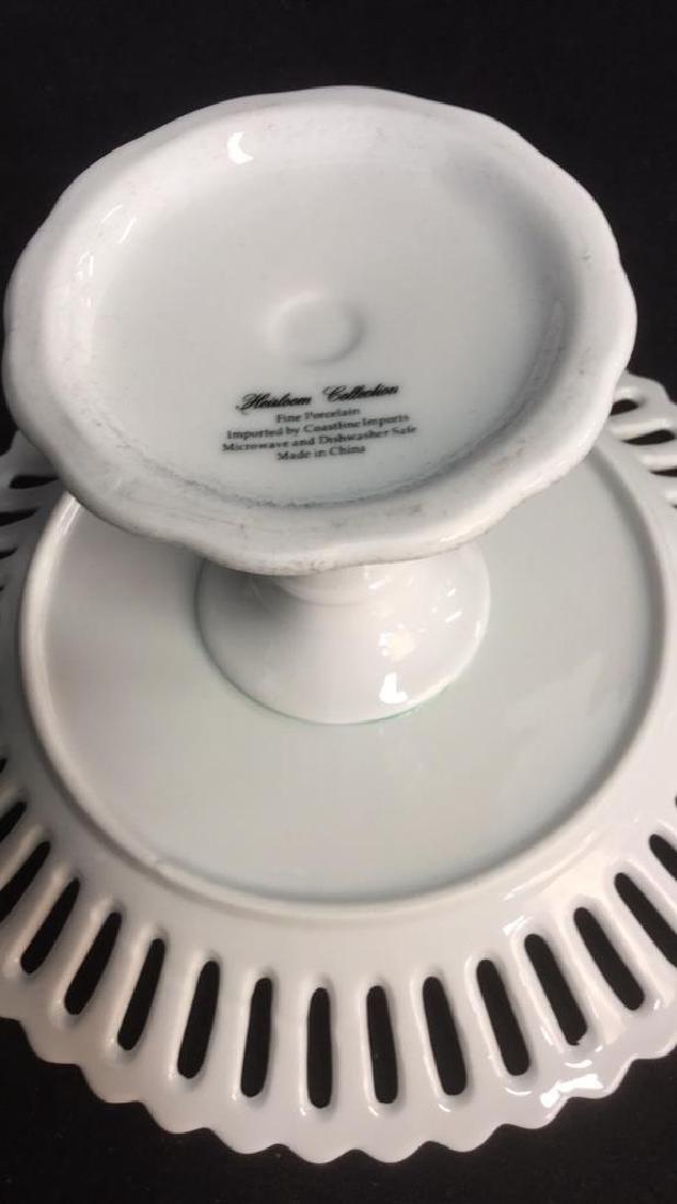 Lot 2 Pierced Edge White Porcelain Cake Stands - 7