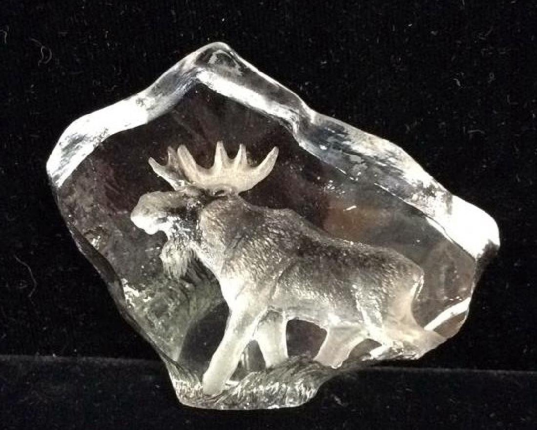 MATS JONASSON Crystal Sculpture W Etched Moose