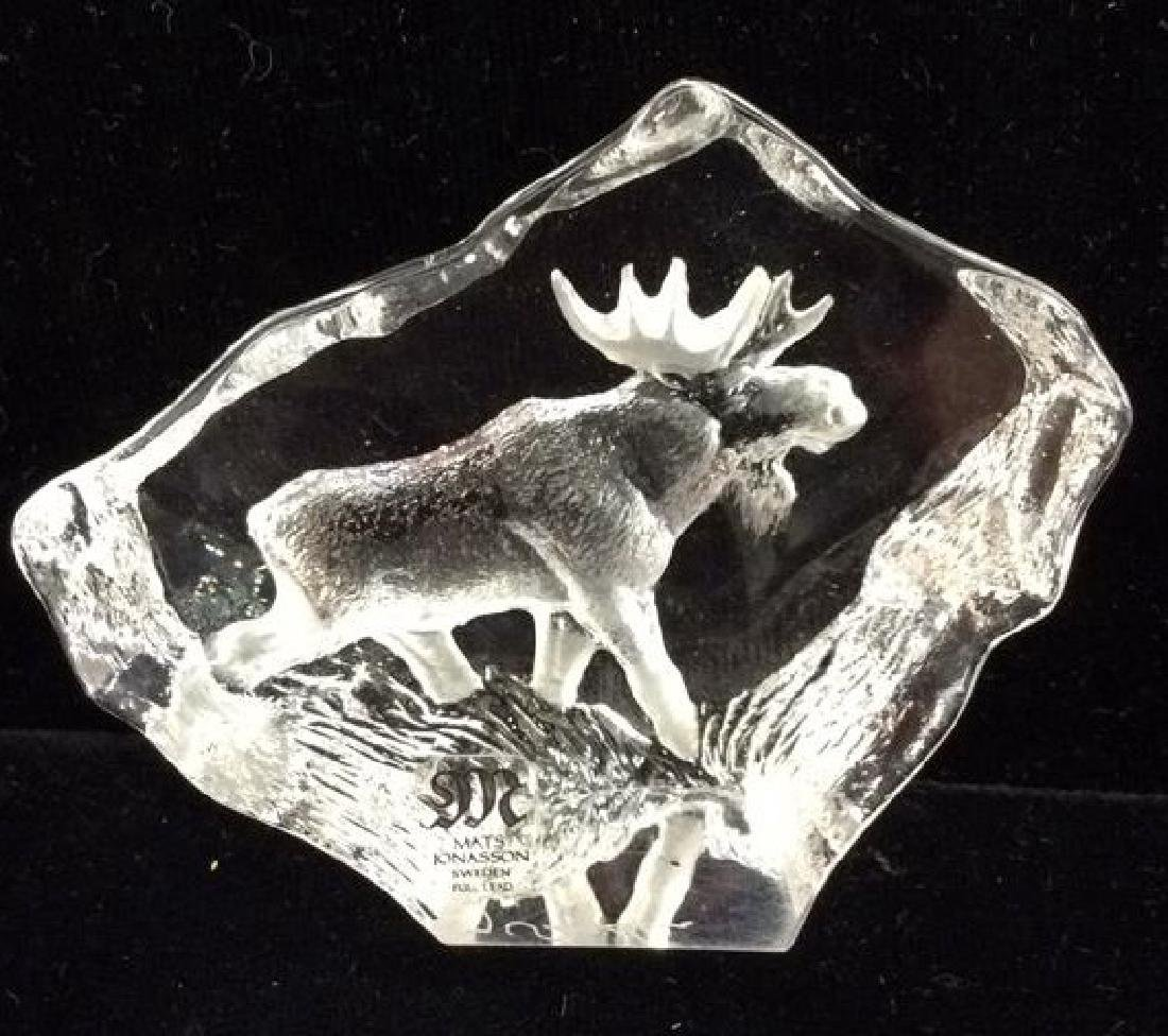 MATS JONASSON Crystal Sculpture W Etched Moose - 2
