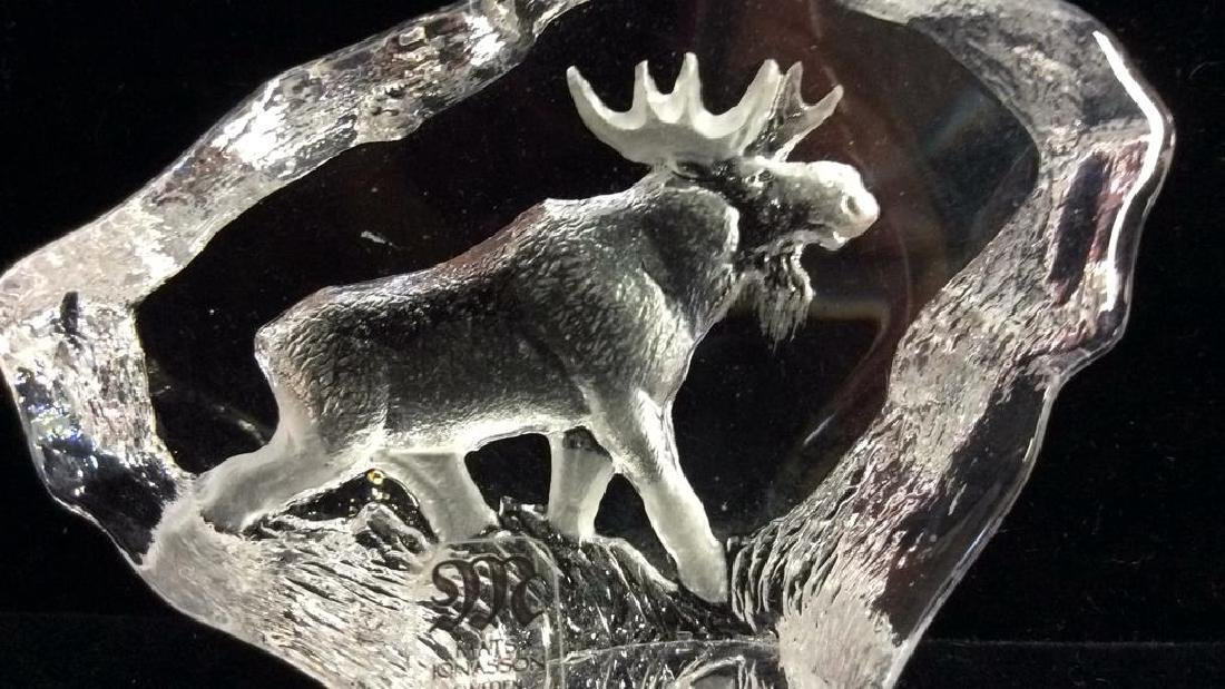 MATS JONASSON Crystal Sculpture W Etched Moose - 3
