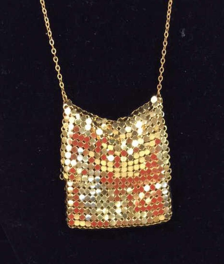 Gold Toned Metal Mesh Purse Necklace