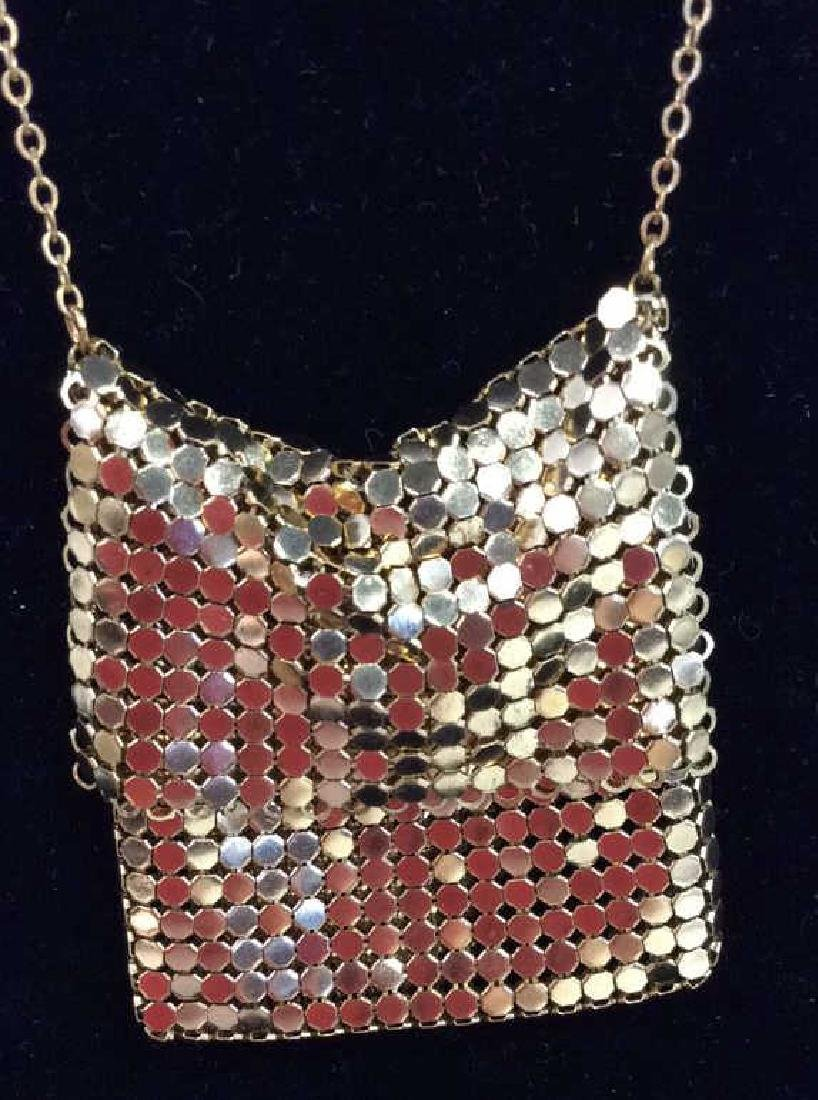 Gold Toned Metal Mesh Purse Necklace - 3