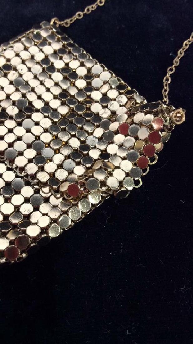 Gold Toned Metal Mesh Purse Necklace - 5