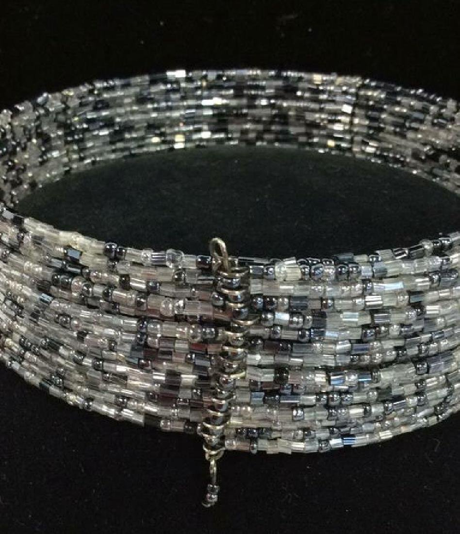 Grey Toned Beaded Collar Necklace - 3