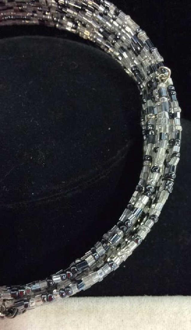Grey Toned Beaded Collar Necklace - 4