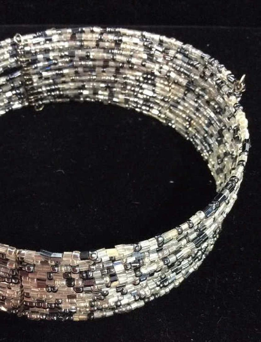 Grey Toned Beaded Collar Necklace - 5