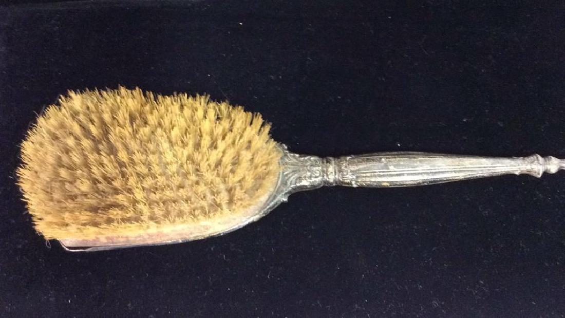 Vintage Silver Toned Vanity Bristle Hair Brush - 4